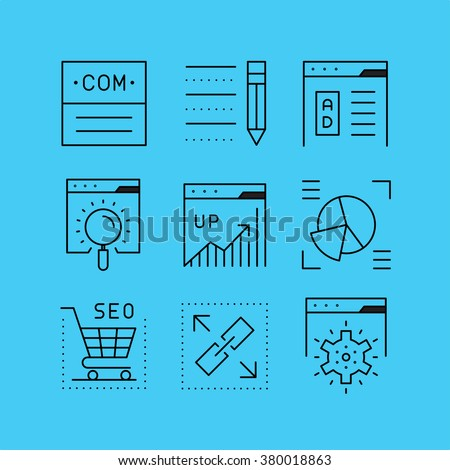 Set of line vectors icons in the flat style. Advertising and public relations, search engine optimization, website promotion. - stock vector