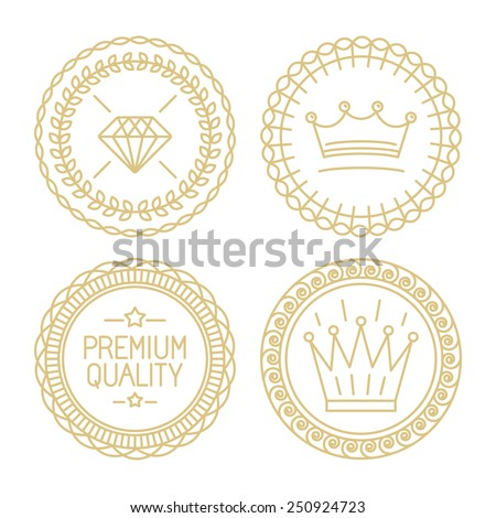 Set of linear badges - premium quality and best choice - hipster design templates - certificates and stamps  - stock vector