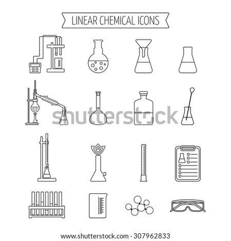 Set of linear chemical icons. Flat design. Isolated. Vector illustration - stock vector