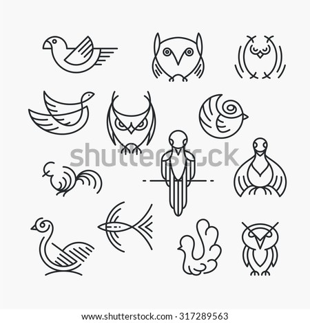 Set of linear design birds, isolated line birds' symbols. Empty outline objects.  - stock vector