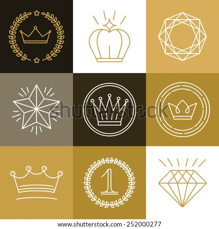 Set of linear gamification badges - awards and labels for best choice, premium quality - design elements in outline style - stock vector