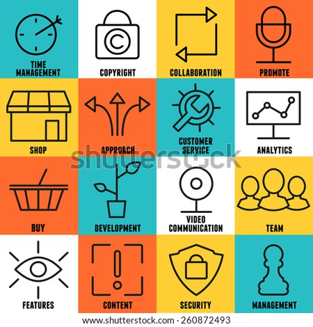 Set of linear internet service icons - part 2 - vector icons - stock vector