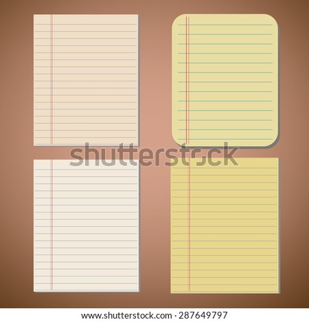 Set of lined paper sheets  - stock vector