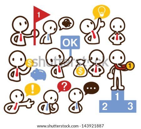 Set of lineman in various pose - Vector EPS10  - stock vector