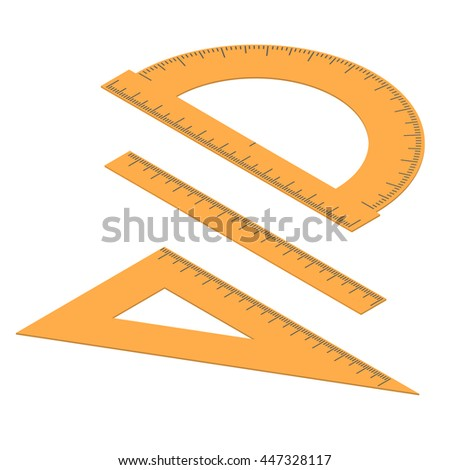 Set of lines. Straight and angular ruler and protractor. Tool for measuring length in the isometric. Centimeters, millimeters and degrees. Stationery Orange color. Vector illustration. - stock vector
