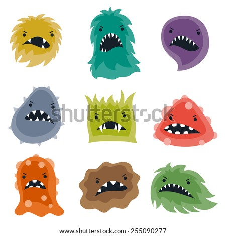 Set of little angry viruses, microbes and monsters. - stock vector
