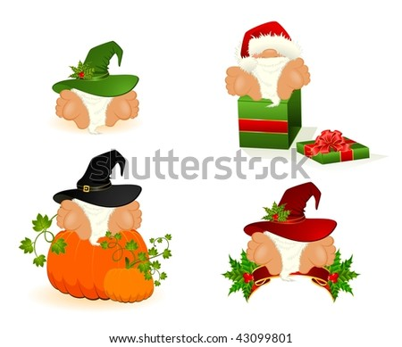 Set of little nice santa Clauses - stock vector