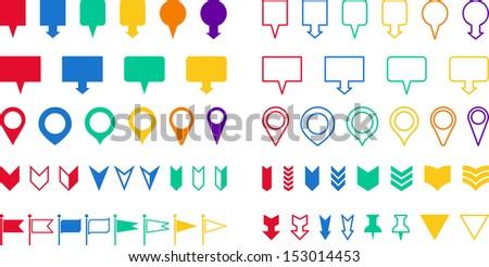 Set of Locators - stock vector