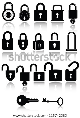 Set of lock and key icons. All vector parts are isolated and grouped. Colors are easy to customize. - stock vector