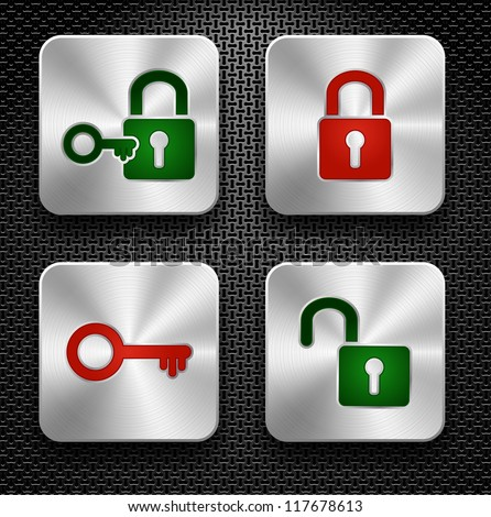 Set of lock and key icons. Steel buttons over metallic textured background - stock vector