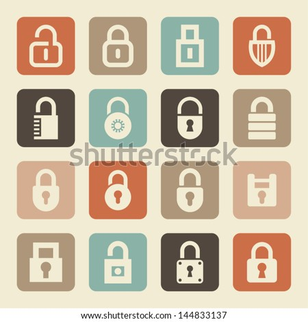 Set of lock icons - stock vector