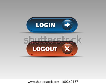 Set of login and logout buttons - Blue,Red.Vector illustration - stock vector