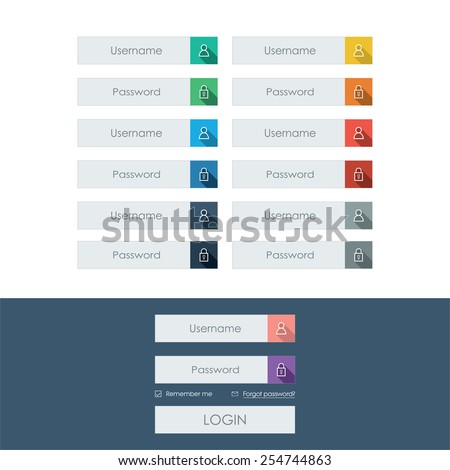Set of login form line icons in modern flat design with long shadow. Bright colors on buttons or bars. Eps10 vector illustration. - stock vector