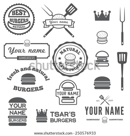 Set of logo, labels, stickers and logotype elements for fast food restaurant, cafe, hamburger and burger - stock vector