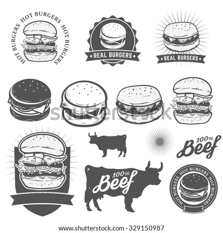 Set of logo, labels, stickers and logotype elements for fast food restaurant, cafe, hamburger and burger. Vector illustration. - stock vector
