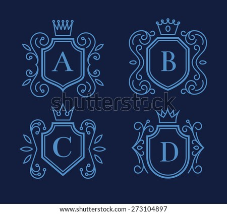 Set of logo or monogram design with shields and crowns. Element design, template frame, victorian emblem, vector illustration - stock vector