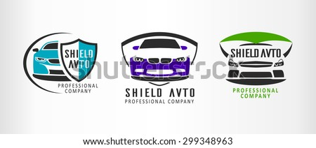 Set of logo sport car, emblems and design elements. Shield auto - stock vector