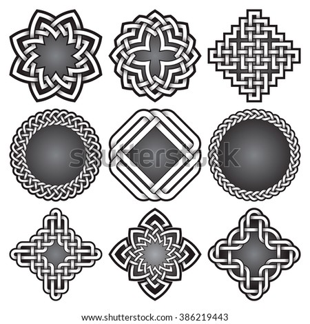 Set of logo templates and frames in Celtic knots style. Tribal tattoo symbols package. Nine silver ornaments for jewelry design. Monochrome logos design elements. - stock vector