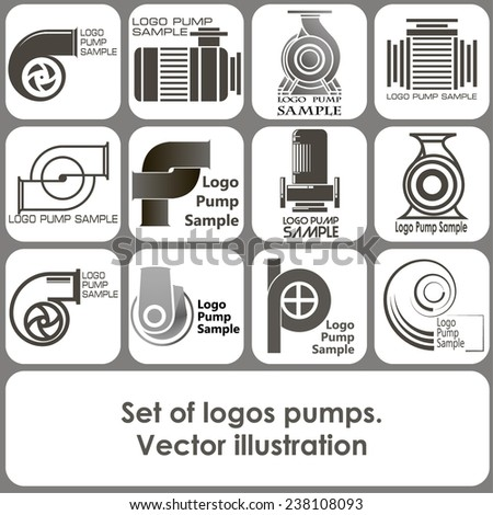 set of logo templates in the form of pumps - stock vector