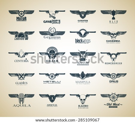 set of 20 logo vector logotype with Roman names: Geganius, Sempronius, Metelli, Gaius, Kaeso and words in Latin wings, speed 60, helmet, security, shield, sword, handle, the power of the Legion, eagle - stock vector