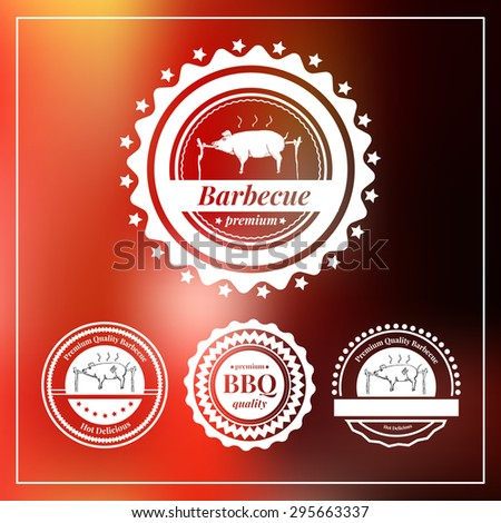 Set of logos, badges and labels for restaurant and cafes. Vector illustration. Hand-drawn element pig on a spit. BBQ, barbecue, picnic, camping logo. - stock vector