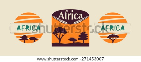 Set of logos for life in the safari or Africa. Could be used as company logo, emblem, sign, icon, symbol, cover, card, postcard, sticker - stock vector