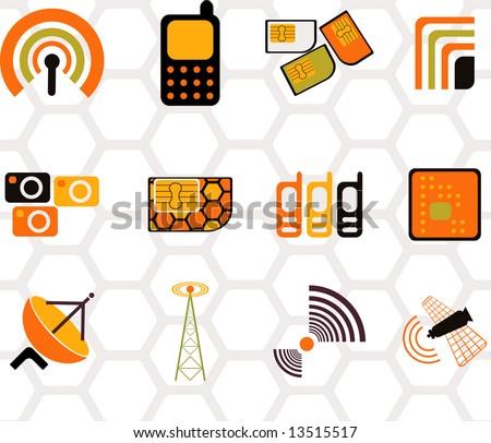 set of logos -mobile-12 - stock vector