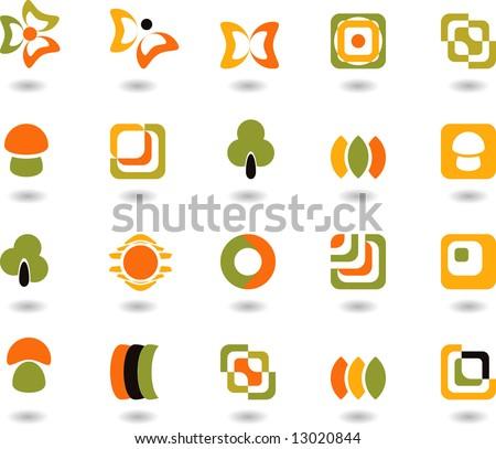 set of logos - nature - 30 - stock vector