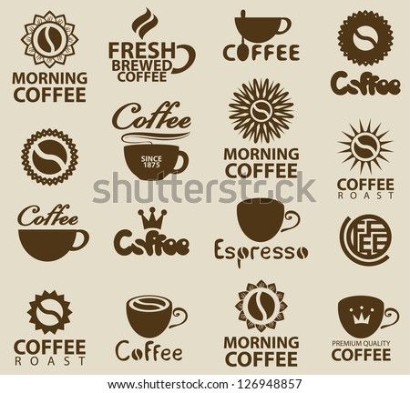 set of logos on coffee - stock vector