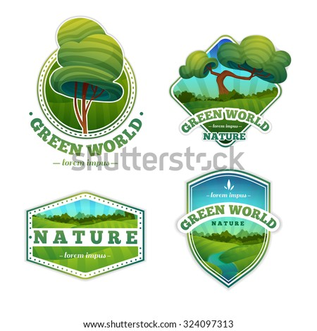 Set of logos, signs, badges with nature, landscape, trees. Cartoon style. Vector. Place for your text. - stock vector