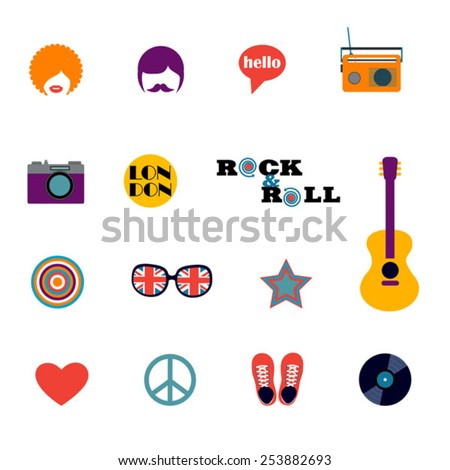 set of London hippie flat icons - stock vector