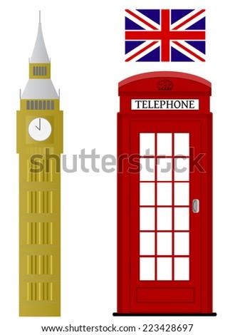 Set of London related vectors - stock vector