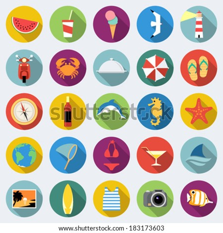 Set of long shadow summer rest icons. Traveling, tourism, vacation theme. Part 2 - stock vector