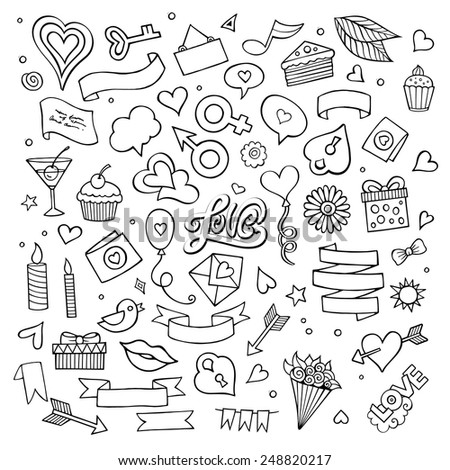 Set of love doodle icons sketch vector illustration - stock vector
