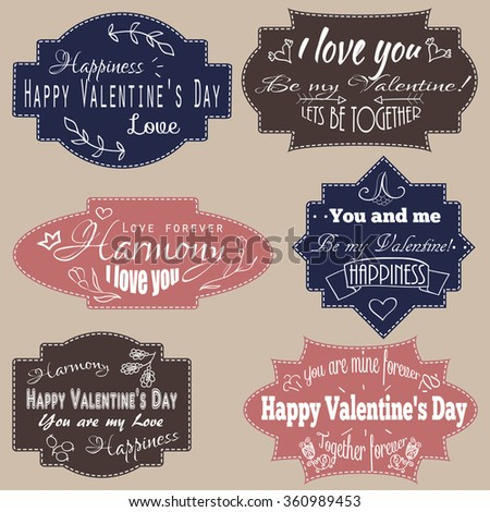 Set of love inscriptions on vintage retro boards, stylized drawing of chalk on a blackboard. Vector graphics. Be my Valentine, I love you, Happy Valentine's Day, Love, Together forever and others. - stock vector