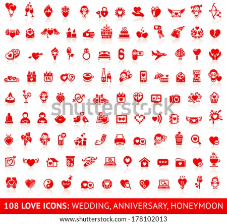 Set of 108 love red wedding icons. Vector illustrations, red silhouettes isolated on white background - stock vector