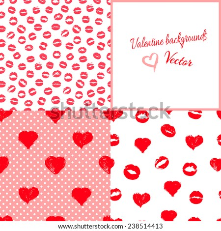 Set of lovely Valentine backgrounds with hearts and kisses. Seamless patterns. Vector. - stock vector