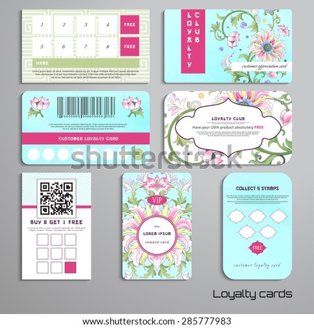 Set of loyalty cards. Beautiful floral pattern with imitation of chinese porcelain painting. Lotus flowers and leaves are painted by watercolor. Place for your text. - stock vector