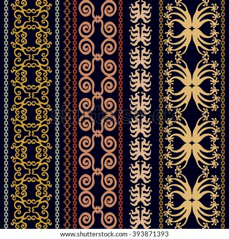 Set of luxury bohemian borders. Hand drawn scrolls, geometric ornaments, damask patterns, floral prints, art deco and oriental motifs. Vintage textile collection. Golden, silver shadows on dark blue. - stock vector