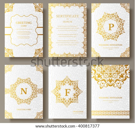 Set of Luxury Gold artistic pages with logo brochure template. Vintage art identity, floral, magazine. Traditional, Islam, arabic, indian. Decorative retro greeting card or invitation design - stock vector