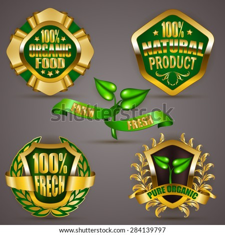 Set of luxury gold badges, shields with floral laurel wreath, ribbons. 100 % pure organic food, natural product. Eco emblem, icon, logo, label, medal, sticker for web, page design. Illustration EPS 10 - stock vector