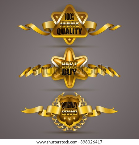 Set of luxury gold badges with laurel wreath, crown, ribbons. 100% authentic quality, best buy, original brand. Promotion emblems, icon, label, medal, blazon for web, page design. Illustration EPS 10. - stock vector