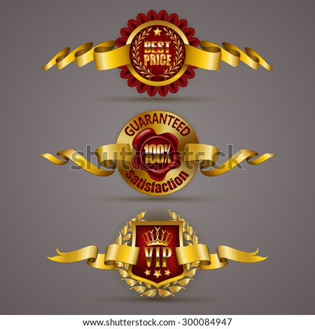 Set of luxury gold badges with laurel wreath, crown, wax seal, ribbons. 100 % guaranteed, best price, vip. Promotion emblems, icons, labels, medal, blazons for web, page design. Illustration EPS 10. - stock vector