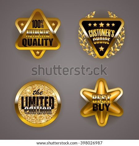 Set of luxury gold badges with laurel wreath, star. Customer's choice, limited edition, 100% authentic quality, best buy. Promotion emblems, icons, blazons for web, page design. Illustration EPS 10. - stock vector