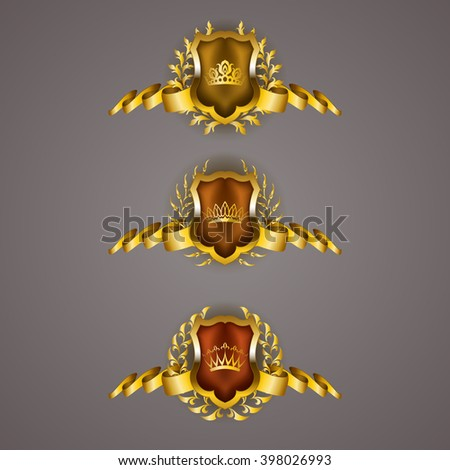 Set of luxury golden vector shields with laurel wreaths, crowns, ribbons. Royal heraldic emblem, icons, label, badge, blazon, monogram for web, page design. Vector illustration EPS 10. - stock vector