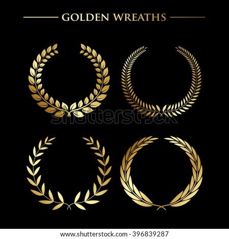 Set of  luxury golden wreaths on a black background. Vector design elements - stock vector