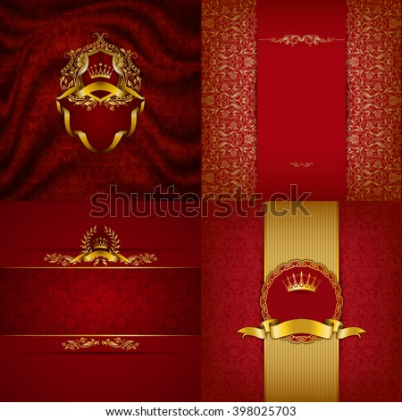 Set of luxury ornate backgrounds in vintage style. Elegant frame with floral elements, filigree ornament, gold crown, shield, ribbons, place for text on red drapery fabric. Vector illustration EPS10 - stock vector