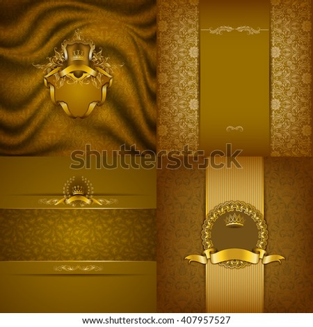 Set of luxury ornate backgrounds in vintage style. Elegant frame with floral elements, filigree ornament, gold crown, shield, ribbon, place for text on golden drapery fabric. Vector illustration EPS10 - stock vector