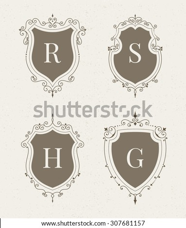 Set of luxury premium stylish templates in the form of a decorative medieval heraldic shields. Hotel, boutique, jewelry sign. Wedding, invitation, logo design. Borders, frames, labels in retro style. - stock vector