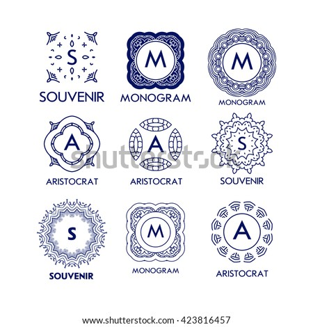 Set of luxury, simple and elegant blue monogram design templates. Good for labels and logos. Vector illustration. Line style. Big set of monograms. Monogram design. Vector monogram. Isolated on white. - stock vector